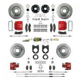 1967-1969 Camaro Signature Four Wheel Manual Disc Brake Conversion Kit, 2 Inch Drop, Red Show N' Go