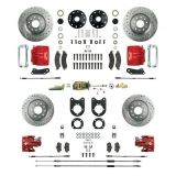 1968-1969 Camaro Signature Four Wheel Manual Disc Brake Conversion Kit, Stock Height, Red Show N' Go, Staggered Shocks