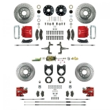 1968-1969 Camaro Signature Four Wheel Manual Disc Brake Conversion Kit, 2 Inch Drop, Red Show N' Go, Staggered Shocks
