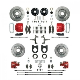 1967-1969 Camaro Signature 2 Inch Drop Four Wheel Big Brake Kit, Red Show N' Go