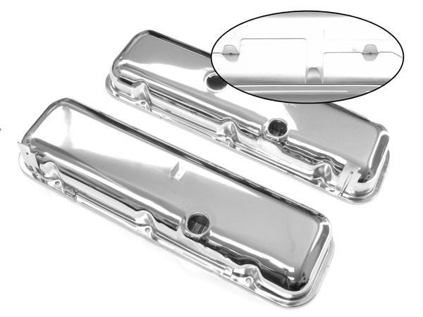 1967-1981 Camaro Big Block Chrome Valve Covers Without Left Side Slant