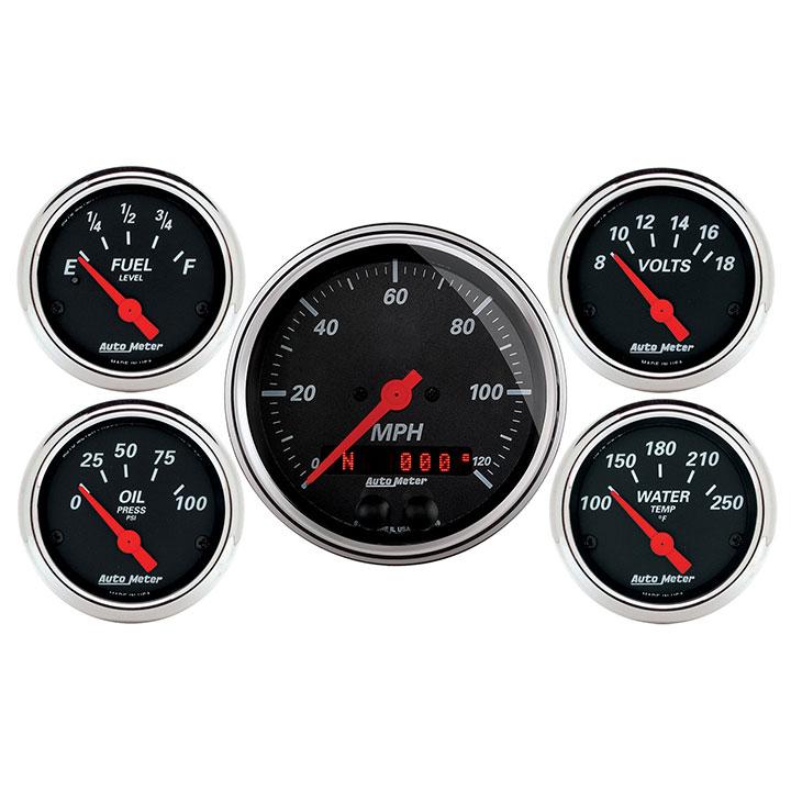 AutoMeter 5 Pc  Gauge Kit, 3-3/8in  & 2-1/16in , GPS Speedometer, Designer  Black