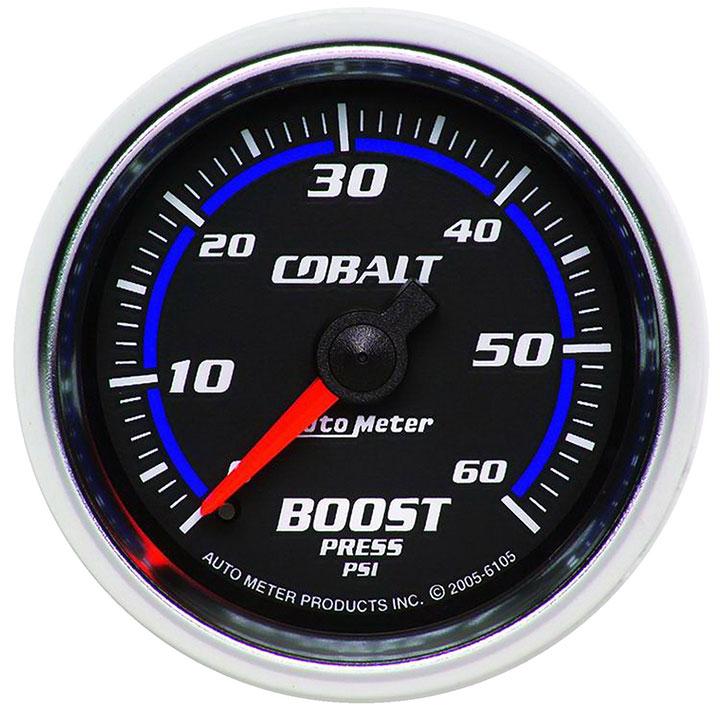 AutoMeter 2-1/16in. Boost Gauge, 0-60 PSI, Mechanical, Cobalt: 6105