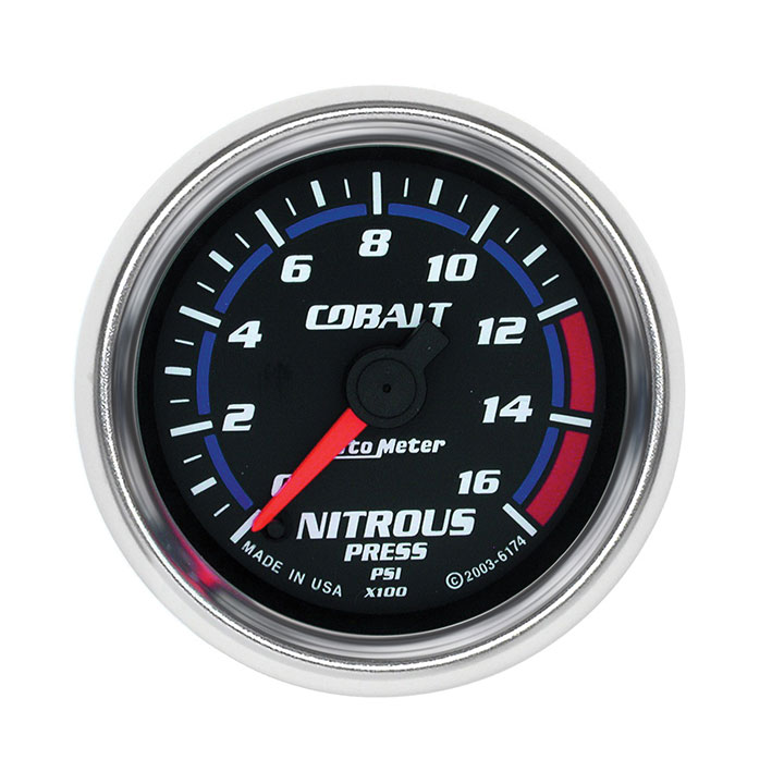 AutoMeter 2-1/16in. Nitrous Pressure Gauge, 0-1600 PSI, Cobalt: 6174