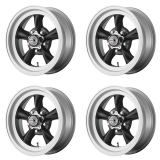 American Racing Torq Thrust D Wheel Kit, 15x7 Satin Black with Machined Silver Lip: VN1055761B