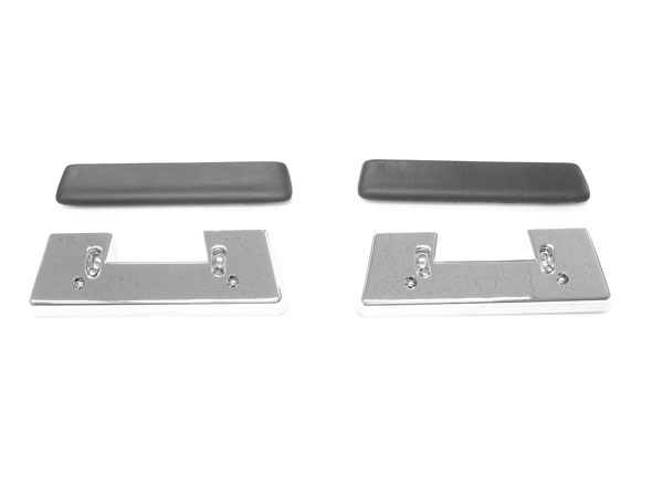 1964-1967 El Camino Front Arm Rest Pad And Base Kit Black