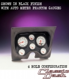 1967-1968 Camaro Classic Dash 6 Gauge Panel Black w/ Auto Meter Mech. Phantom Gauges
