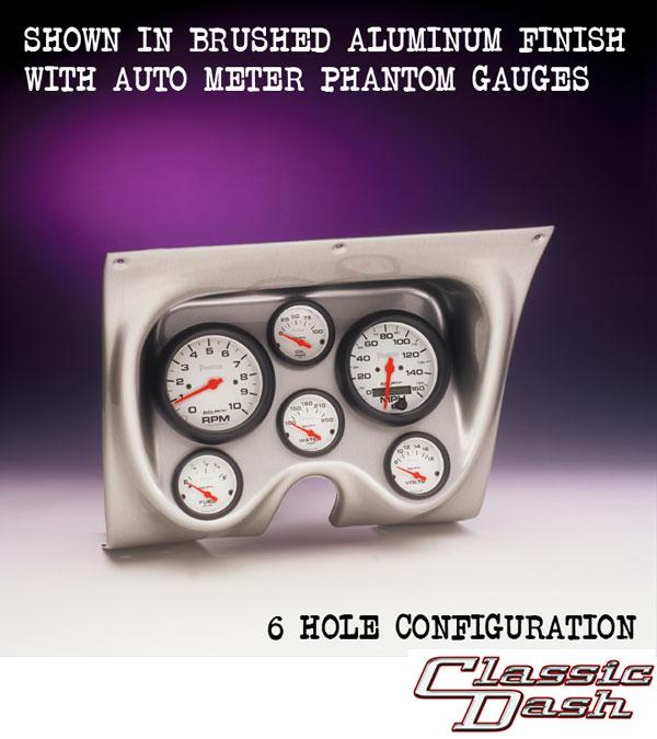 1967-1968 Camaro 6 Gauge Panel Brushed Alum  With Auto Meter Sport-Comp  Mechanical Gauges