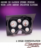 1967-1968 Camaro Classic Dash 6 Gauge Panel Carbon Fiber w/ Auto Meter Mech. Phantom Gauges