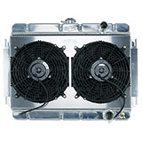 1964-1965 El Camino Cold Case Aluminum Radiator & Fan Kit, MT, Dual 12 Inch Fans & Shroud