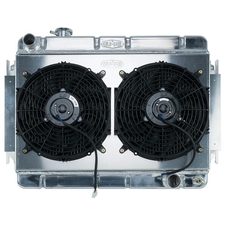 1966-1967 Chevelle Cold Case Aluminum Radiator & Fan Kit, MT, Dual 12 Inch  Fans & Shroud