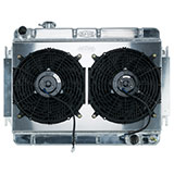 1966-1967 El Camino Cold Case Aluminum Radiator & Fan Kit, MT, Dual 12 Inch Fans & Shroud