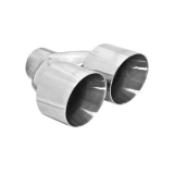 Flowmaster Weld-On Exhaust Tip, 4 In. Dual Angle Cut Polished SS, Fit 2.5 In. Tube