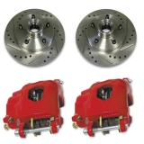 1970-1977 Camaro Front Disc Brake Upgrade, Drilled & Slotted Rotors, Red Calipers