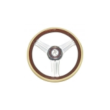 Flaming River Camaro Navigator Steering Wheel, Tan Leather and Wood