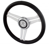 Flaming River Camaro Navigator Steering Wheel, Full Black Leather