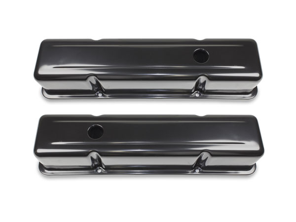 1964-1977 Chevelle Small Block Black Painted Steel Valve Covers Tall Height