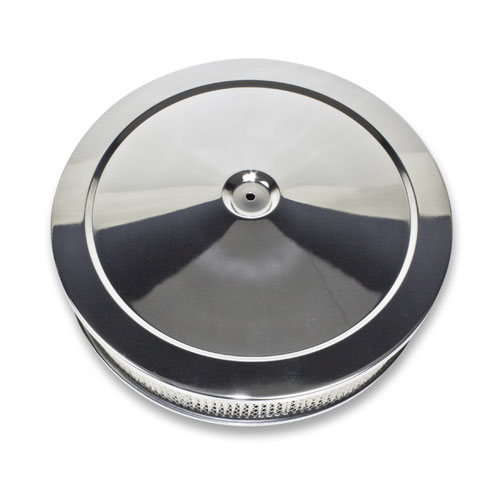 1964-1977 Chevy Chevelle Muscle Car Style Chrome Air Cleaner Set, Paper Element, Recessed Base, 14 X 3