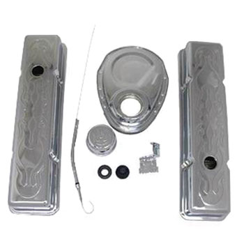 1964-1977 Chevy Chevelle Small Block Engine Dress Up Kit Short Valve Covers With Embossed Flames