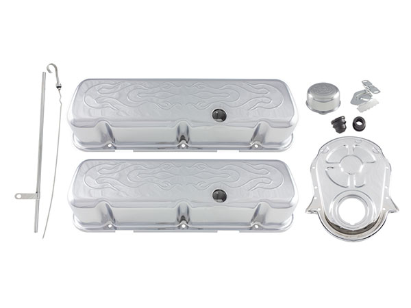 1967-1981 Chevy Camaro Big Block Engine Dress Up Kit Tall Valve Covers With Embossed Flames