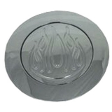 Chrome Plated Aluminum Horn Button Featuring Ball Milled Flames For Chevy Camaro  67+ 4-5/8 Diameter