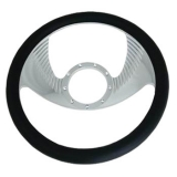 Leather Grip Chrome Plated Aluminum Steering Wheel Wing Style
