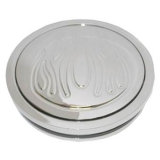 1967-1981 Camaro Chrome Plated Aluminum Horn Button Featuring Ball Milled Flames, 3-1/2 Inch Diameter