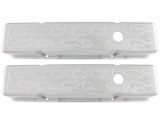 1967-1992 Chevy Camaro Small Block Polished Aluminum Milled Flames Valve Covers Tall Height