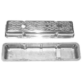 1967-1992 Chevy Camaro Small Block Polished Aluminum Milled Flames Valve Covers Stock Height