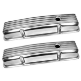 Chevy Small Block Polished Aluminum Nostalgic Style Valve Covers Stock Height