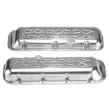 1967-1992 Chevy Camaro Big Block Polished Aluminum Milled Flames Valve Covers Stock Height