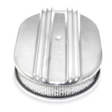 Chevy 12 Inch Oval Air Cleaner Assembly Polished Aluminum Finned