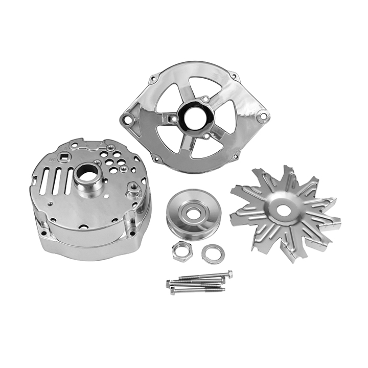 1964-1977 Chevy Chevelle Chrome Alternator Case, Pulley, and Fan Kit