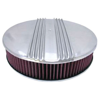 1962-1979 Chevy Nova 14 Inch Air Cleaner Assembly Polished Aluminum Finned Flat Base
