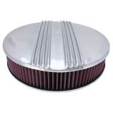 1967-1992 Chevy Camaro 14 Inch Air Cleaner Assembly Polished Aluminum Finned Flat Base