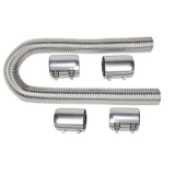 1967-1992 Chevy Camaro Chrome 48 Inch Stainless Steel Radiator Hose Kit with Polished Aluminum Caps