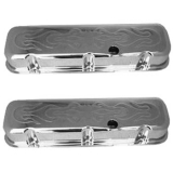 1967-1992 Chevy Camaro Big Block Chrome Valve Covers With Flames Logo Tall Height