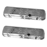 1967-1992 Chevy Camaro Big Block Chrome Valve Covers With Flames Logo Stock Height