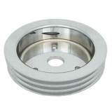 Chevy Small Block Crank Pulley Triple Groove Satin Aluminum For Short Pump