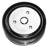 Chevy Small Block Crank Pulley Triple Groove Chrome Plated Steel For Short Pump
