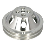 Chevy Small Block Polished Aluminum Water Pump Pulley Double Groove For Short Pump