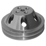 1967-1968 Chevy Camaro Small Block Satin Aluminum Water Pump Pulley Double Groove For Short Pump