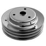 Chevy Camaro Small Block Crank Pulley Triple Groove Chrome Plated Steel For Long Pump