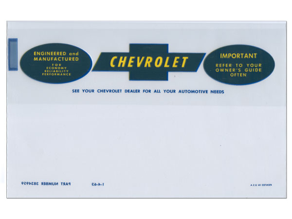 1964-1966 Chevelle Factory Owners Manual Bag