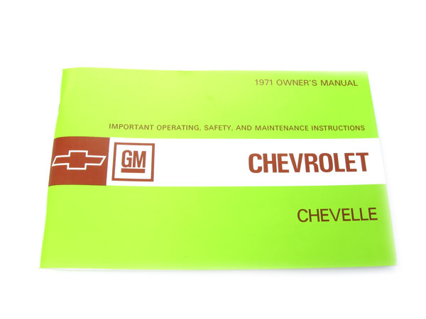 1971 Chevelle Factory Owners Manual
