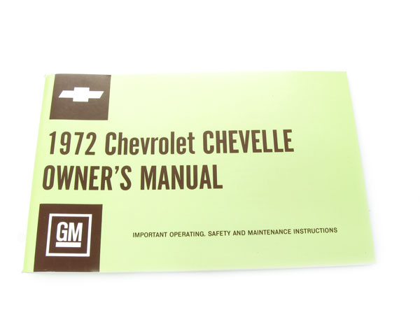 1972 Chevelle Factory Owners Manual