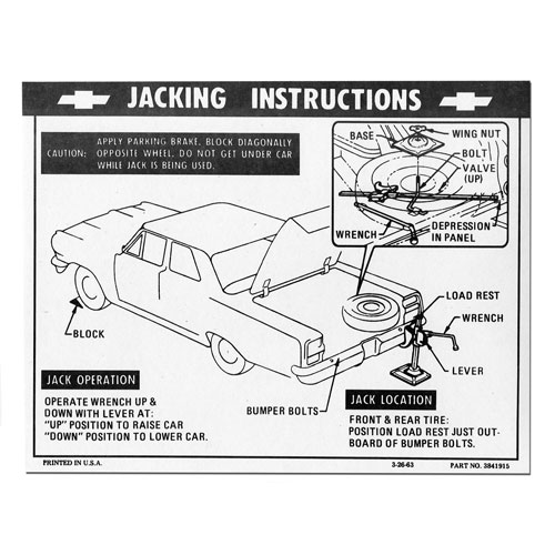 1967 Chevrolet Trunk Jacking Instructions Decal