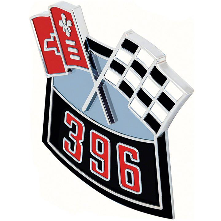 1964-1977 Chevelle Big Block Die Cast Air Cleaner Decal, 396 Cross Flags