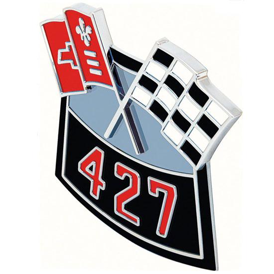 1964-1977 Chevelle Big Block Die Cast Air Cleaner Decal, 427 Cross Flags