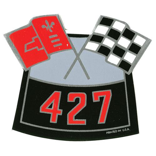 1962-1979 Nova Big Block Air Cleaner Decal, 427 Cross Flags